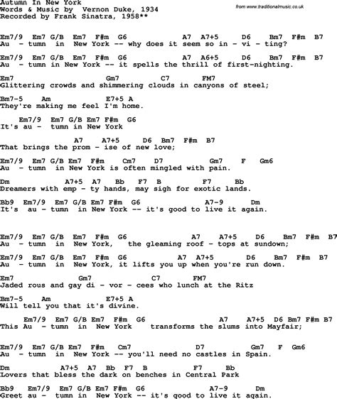 testo new york new york frank sinatra song lyrics with guitar chords for autumn in new york