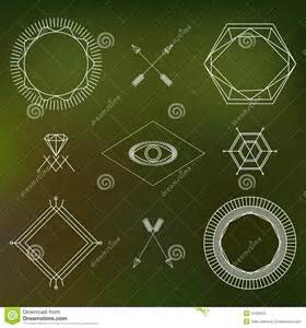 Blurred Outlines by Abstract Outline Symbols And Badges Set On Blurred Background Stock Vector Image 51266555