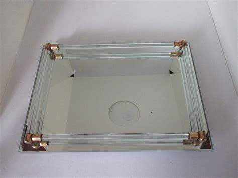 vintage dresser vanity tray mirrored glass with glass rods