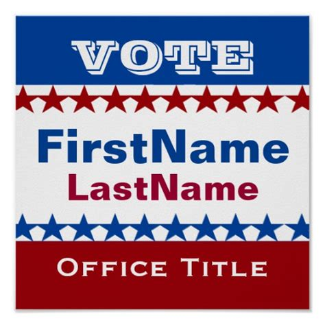 Election Poster Template custom caign template poster zazzle