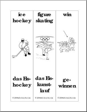 free printable hockey bookmarks german bookmarks winter sports abcteach