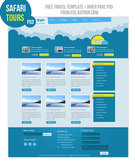Tour Design Template by 18 Website Design Psd Free Images Web Design