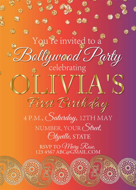 indian themed birthday invitations birthday invite indian wedding invitation bridal shower invitation