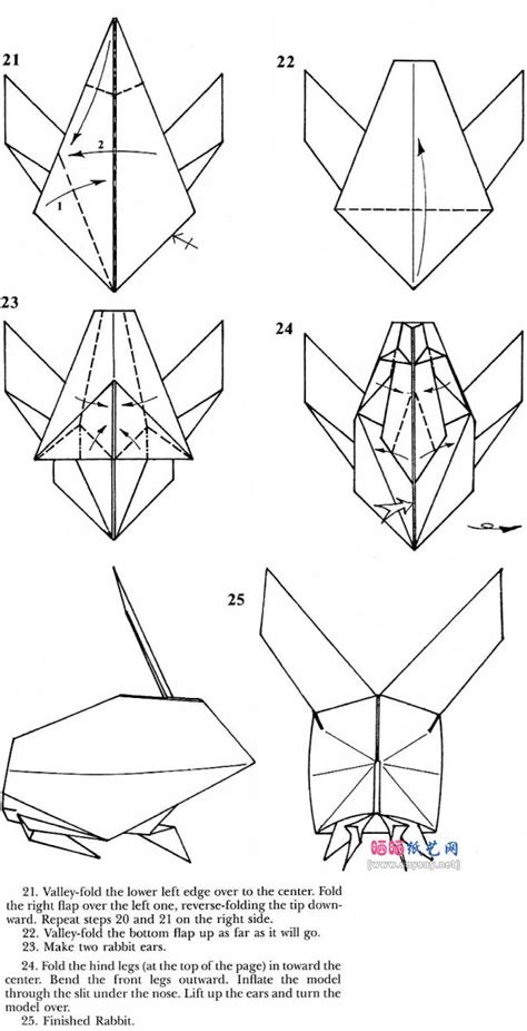 Origami Rabbit Diagram - square rabbit origami tutorial diagram designed by robert