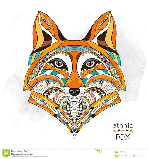patterned head of the fox stock vector image 53716977