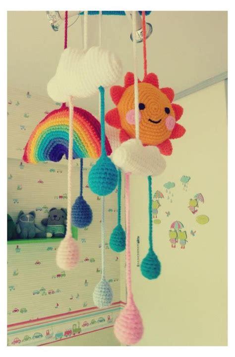 amigurumi raindrop pattern sun clouds rainbow raindrops the mobile for the