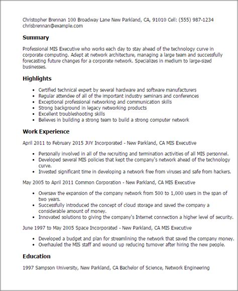 Network Analyst Resume Exle by Professional Mis Executive Templates To Showcase Your