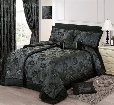 black bed spread black silver colour stylish floral jacquard luxury embellished quilted bedspread set