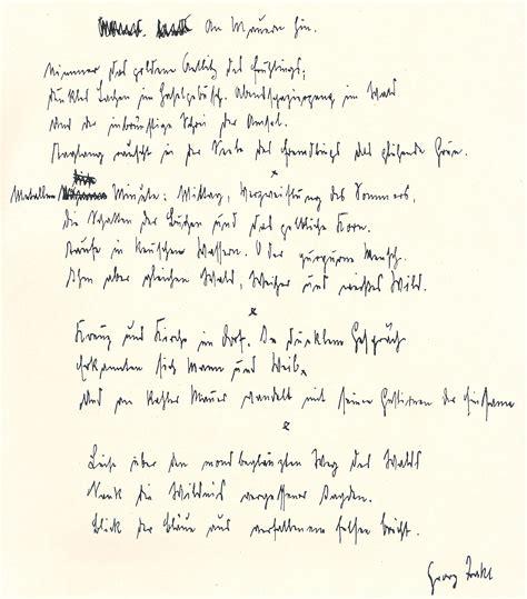 Handgeschriebener Lebenslauf Aufsatzform Georg Trakl