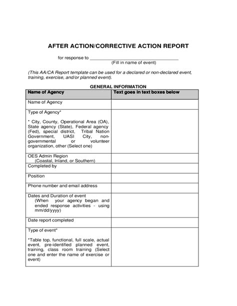 After Action And Corrective Action Report Template Free Download Corrective Form Template