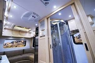 motorhome interior small bathroom with shower and