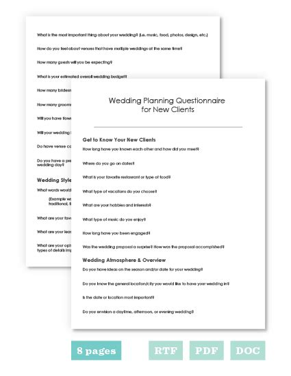 Wedding Planner Questionnaire by The Wedding Planner S Toolbox