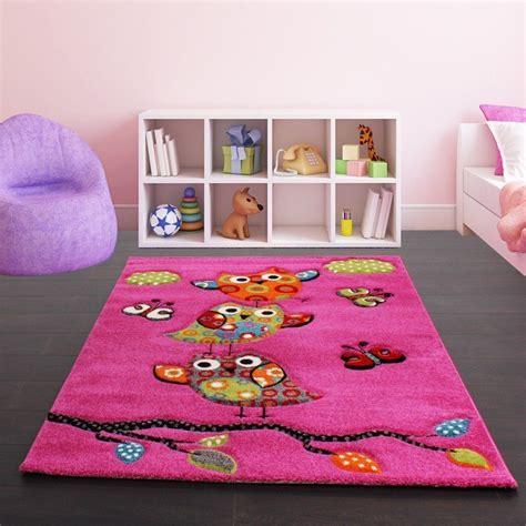 girls bedroom rug childrens pink rug carpet owls soft modern children rug