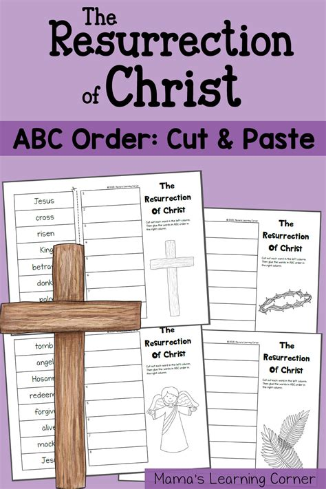 tell me about easter die cut books abc order worksheet cut and paste the resurrection of
