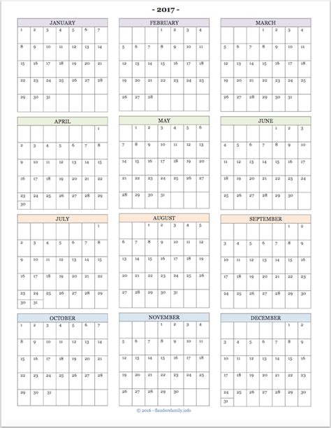printable year at a glance calendar 2017 2017 calendars for advanced planning the flanders family