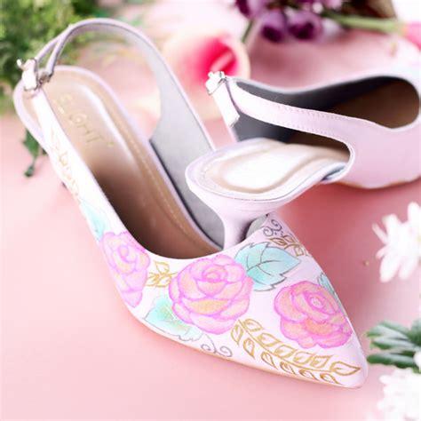 Flat Shoes Mawar sepatu sandal slingback blossom pink