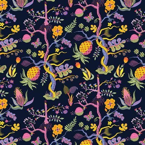 Pineapple Upholstery Fabric I Llew Mejia Illustration Surface Design