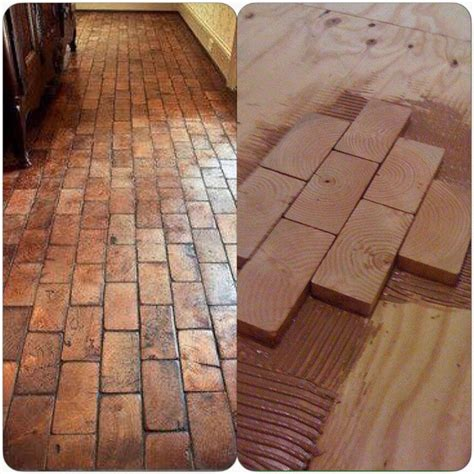 awesome best 25 brick tile floor ideas on pinterest brick beautiful floor made from the ends of 2x4 s took two