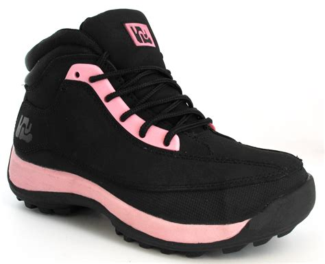 Drfaris Treking Safety Shoes safety black pink steel toe cap leather ankle hiking boots trainers ebay