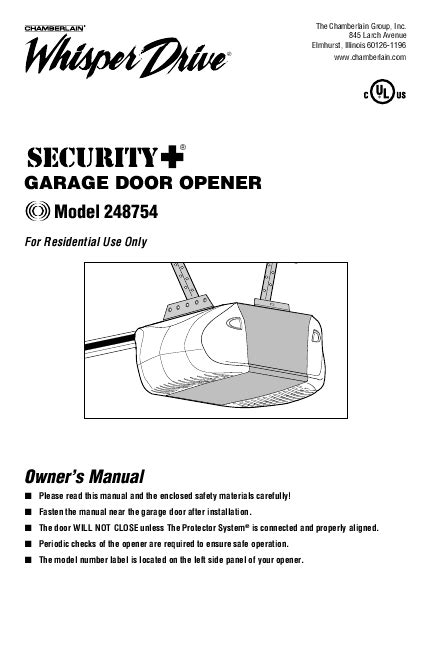chamberlain garage door opener user manual manualsonline