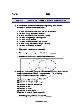 set theory set operations word problems worksheet 2 by