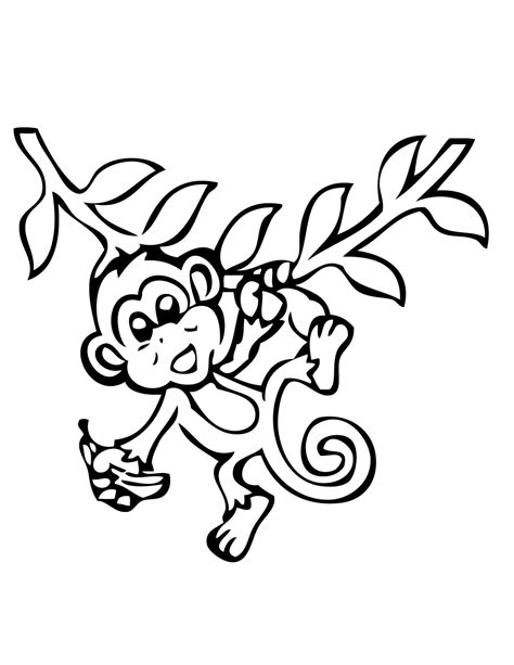 easy monkey coloring page hanging monkey with banana coloring page h m coloring