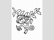 Hanging Monkey With Banana Coloring Page | H & M Coloring ... Easy Tribal Animal Drawings