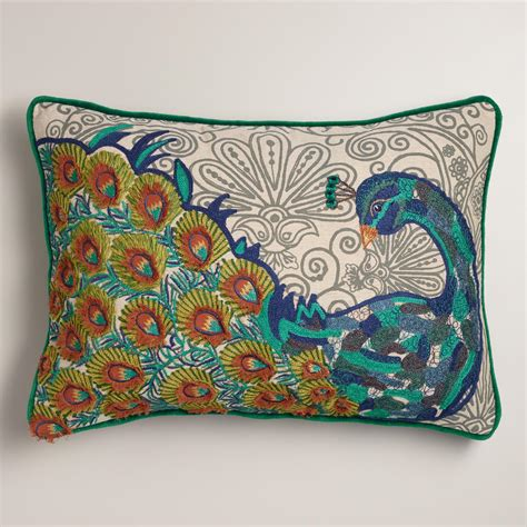 Peacock Colored Pillows by Peacock Blue Chambray Lumbar Pillow World Market