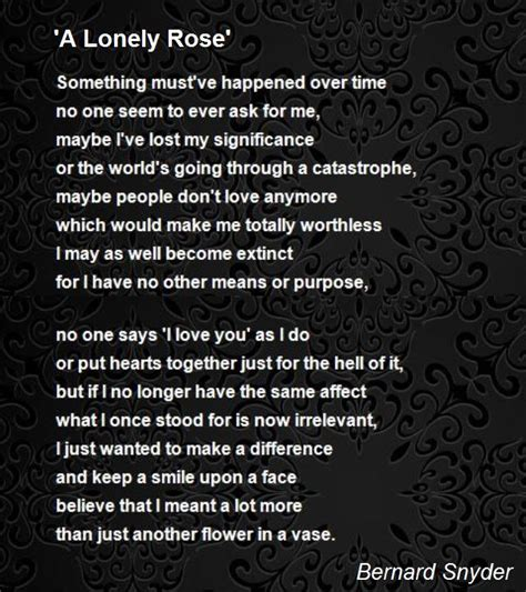 lonely rose poem  bernard snyder poem hunter
