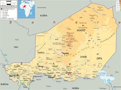political map of niger large detailed physical map of niger with all cities