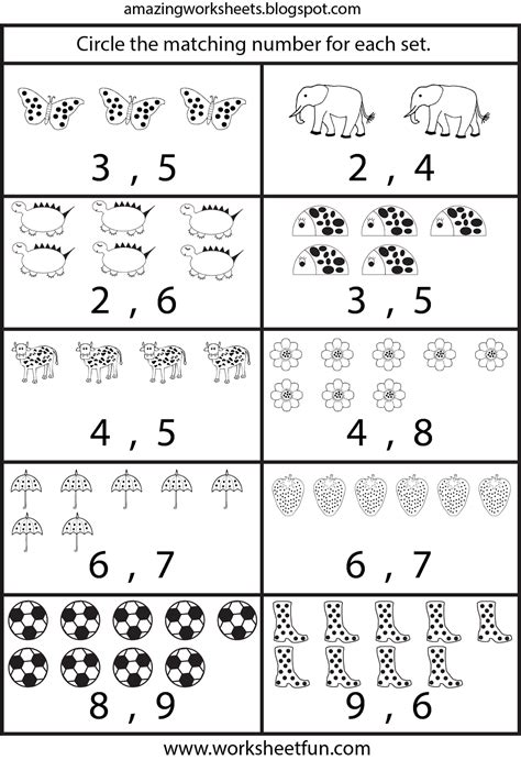 counting worksheets for kindergarten learning free