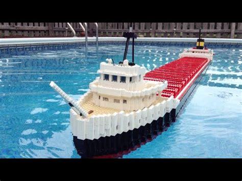 lego boat sinking in pool floating lego edmund fitzgerald model 8 feet long youtube