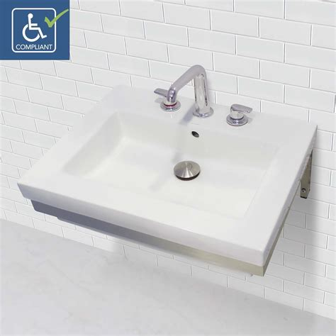 wall mounted rectangular sink decolav caden 1819w 8p cwh wall mount rectangular