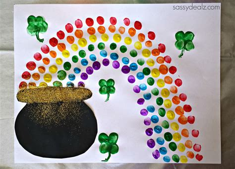 st patricks day crafts fingerprint rainbow pot of gold craft for st s