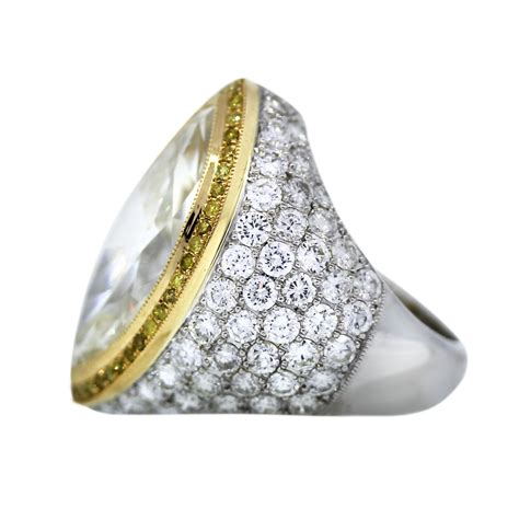 platinum 18k yellow gold 7 22 carat marquise cut pave