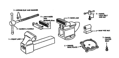 diagram of bench vice buy wilton d45 replacement tool parts wilton d45 vise