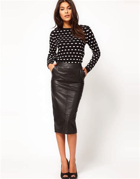 asos asos pencil skirt in leather at asos