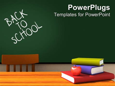 Powerpoint Template Back To School Classroom With Chalkboard And Desk With Books And Apple And Back To School Powerpoint Templates