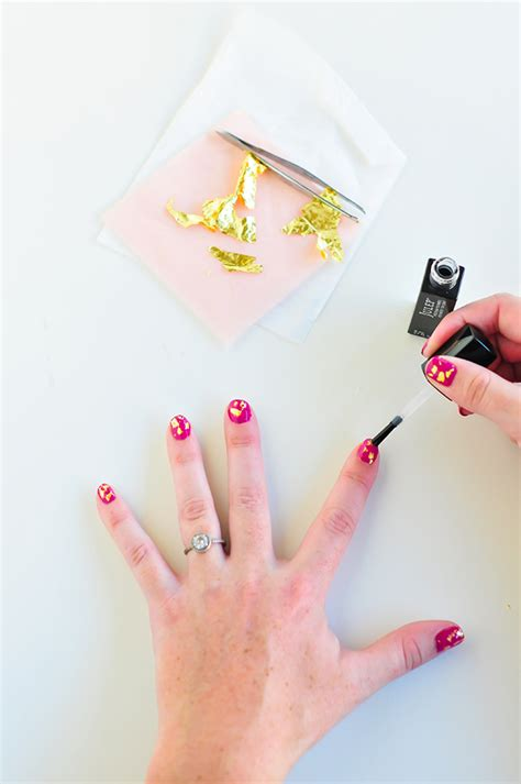 nail art gold leaf tutorial gold leaf manicure tutorial plus 20 more insanely easy
