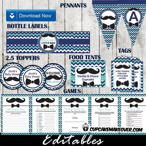 Mustache And Bow Tie Baby Shower Decorations by Chevron Blue Mustache And Bow Tie Baby Shower