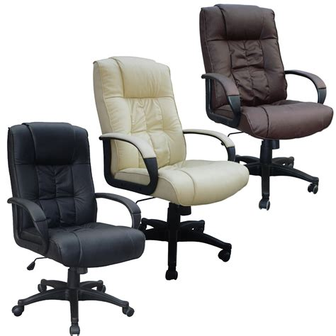 Computer Desk Chairs by Cow Split Leather High Back Office Chair Pc Computer Desk Swivel Furniture Ebay