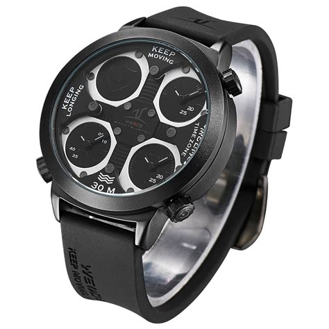 Weide Universe Series Three Time Zone 30m Water Resistance Uv1506 Blac weide universe series time zone 30m water