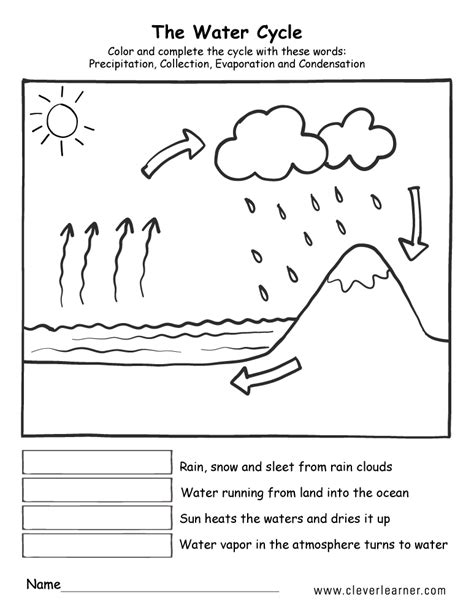 water cycle coloring page pdf printable water cycle worksheets for preschools