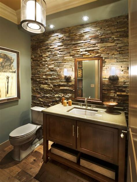 bathroom stone wall craftsman bath design ideas pictures remodel decor