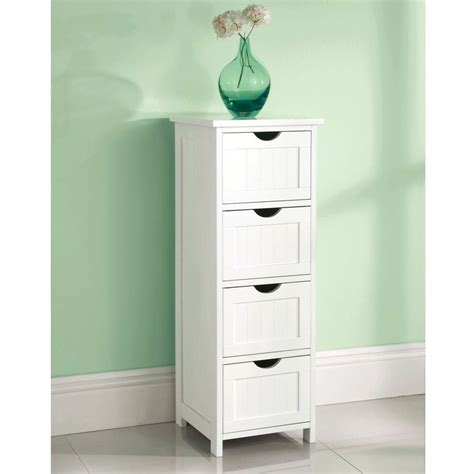 Wooden Bathroom Cupboards by White Wooden Large 4 Drawer Free Standing Bathroom Cabinet