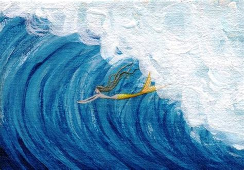 acrylic paint on canvas finish mermaid surfing wave by hiroko reaney from more mermaids