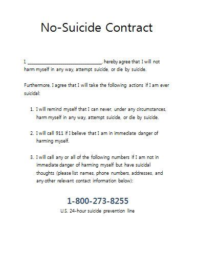 no suicide contract for therapy practices therapist