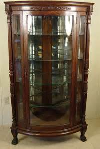 Antique China Hutch With Curved Glass Oak Corner China Cabinet