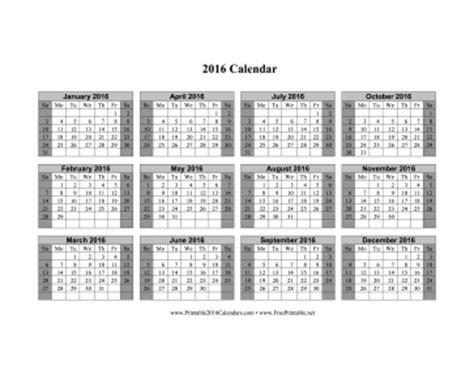 printable calendar grid 2016 printable 2016 calendar on one page horizontal shaded