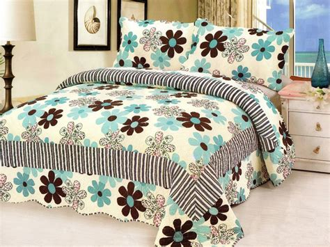 King Size Quilt And Shams King 3 Set King Size Quilted Bedspread Floral